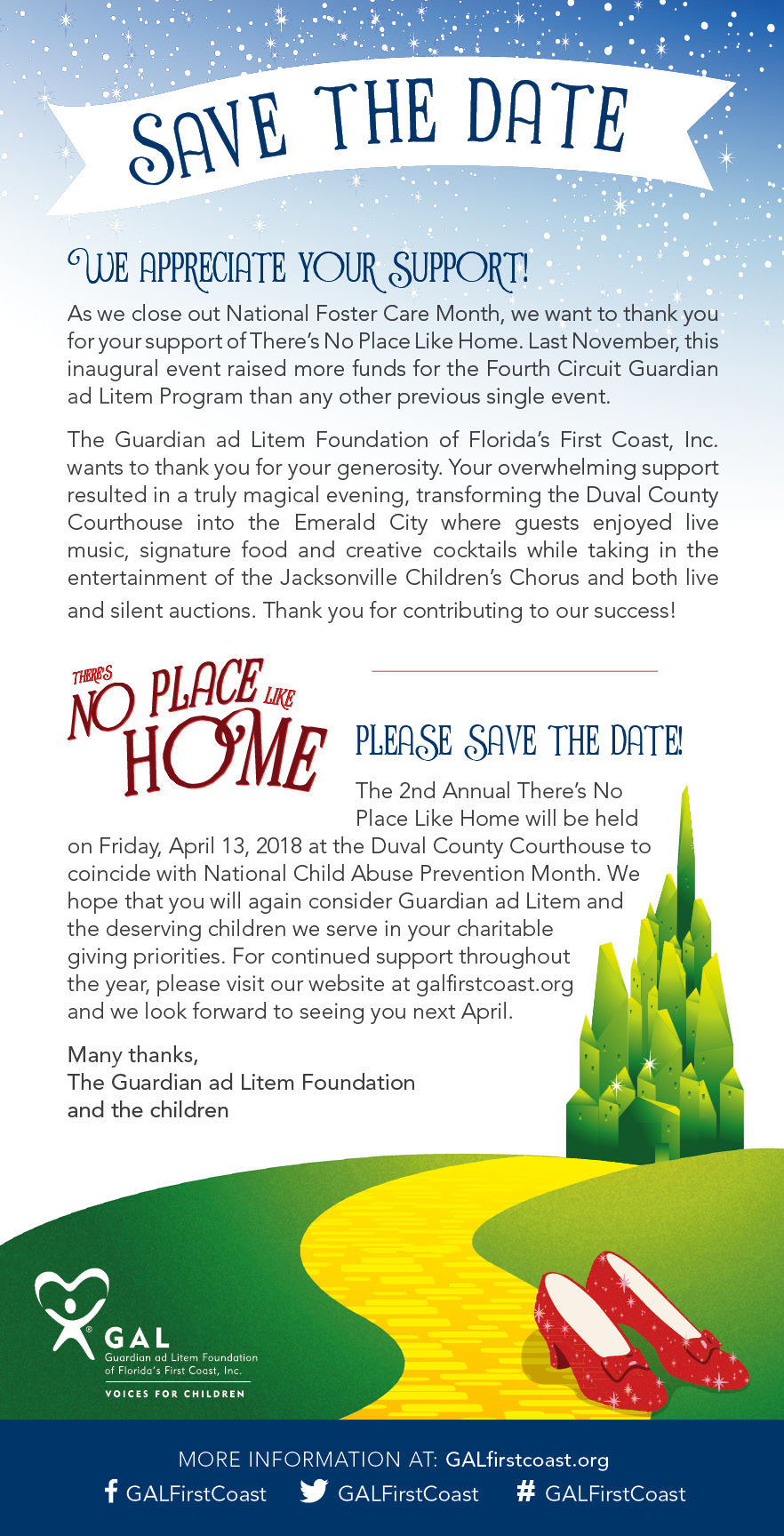 GAL | There's No Place Like Home | Fundraiser | 2018 | Save the Date